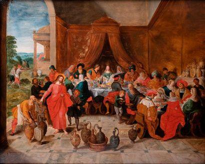 Ecole ANVERSOISE vers 1630, atelier de Frans FRANCKEN Les Noces de Cana Panneau...