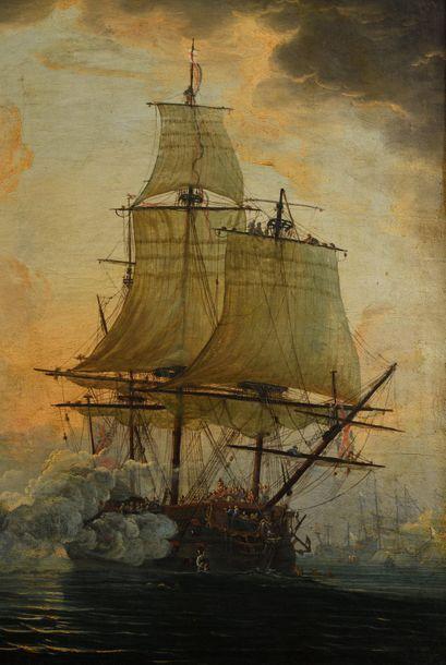 Attribué à Louis – Philippe CREPIN (1772 – 1851) Bataille navale franco – anglaise...