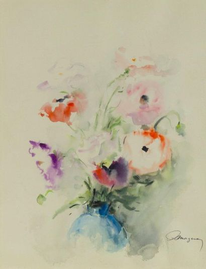 Anthime MAZERAN (1907-1986)  Bouquet  Aquarelle...