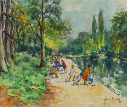 MICHEL Andrée (1908-1975)  Promenade au parc...