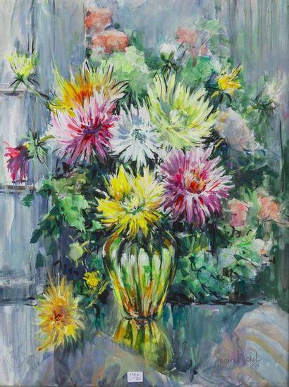 MICHEL Andrée (1908-1975)  Bouquet de dahlias...
