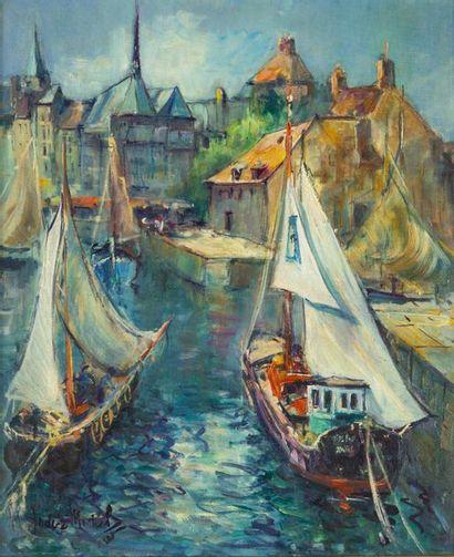 Andrée MICHEL (1908-1975)  Le port d'Honfleur...