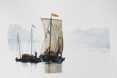 Paul NATTER (1972) Voiles Aquarelle 35 x...