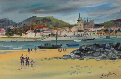 Lucien NEUQUELMAN (1909-1988)  Vue d'un port...