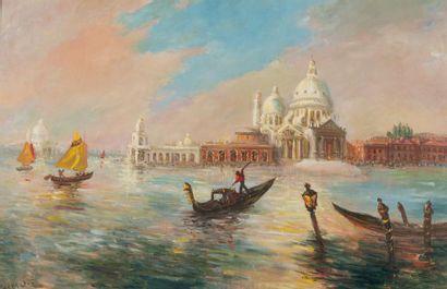 PÉCHAUBES Gena (1923)  Vue de Venise  Huile...