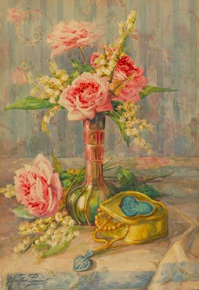 PONSARD Andrée (XIXe-XXe)  Roses, muguet...