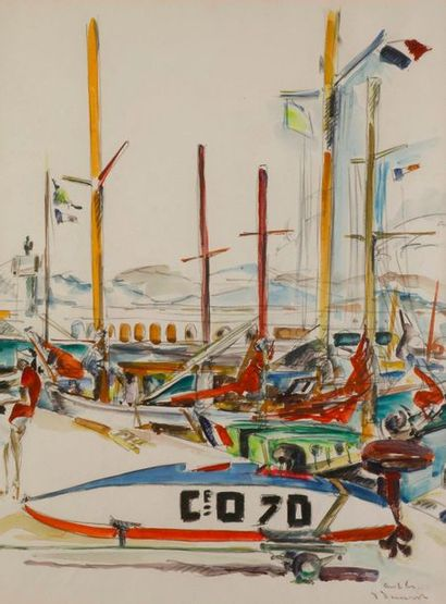 PRUVOST Pierre (1921-2008)  Antibes, le port...