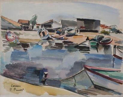 PRUVOST Pierre (1921-2008)  Carnon, barques...