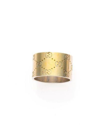 GUCCI, Bague anneau large, Icon en or gris,...
