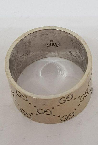 GUCCI, Bague anneau large, Icon en or gris, 750 MM, taille : 65, poids : 16,9gr....