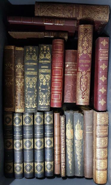 Une caisse de volumes XIXème siècle et reliures...