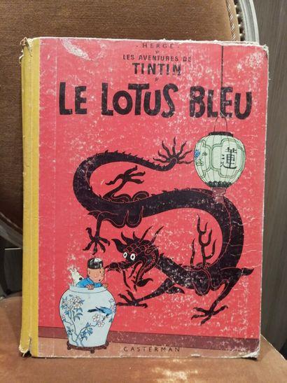 TINTIN, Le Lotus bleu, édition 1962 (dos...