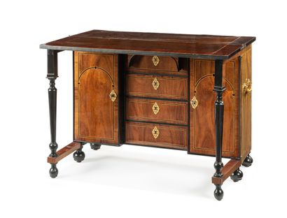 The rectangular top of the bureau de changeur is inlaid with coral wood decorated...