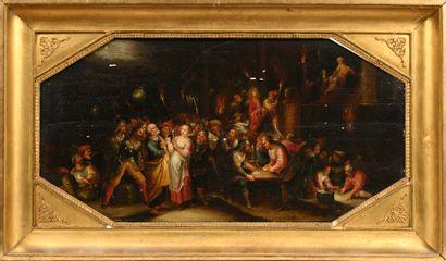 Attribué à GASPARD Van den HOECKE (1661 - 1702)  Le Christ devant Pilate  Panneau...