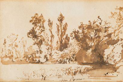 Paul HUET  (Paris 1803 - 1869)  Paysage à...
