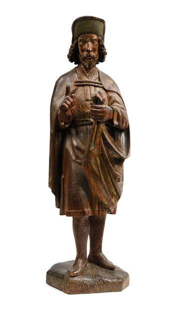 Saint en tilleul (?) sculpté avec restes...