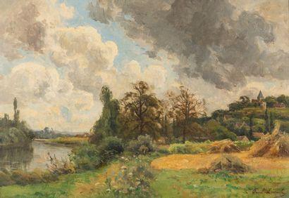 Paul LECOMTE (1842-1920)  Village en bord...