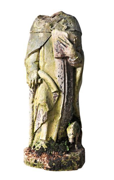Saint Antoine en pierre calcaire sculptée....