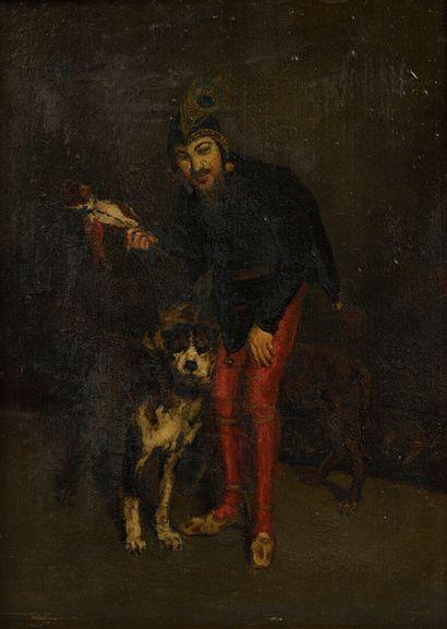 Ecole FRANCAISE vers 1880  Fou et son chien...