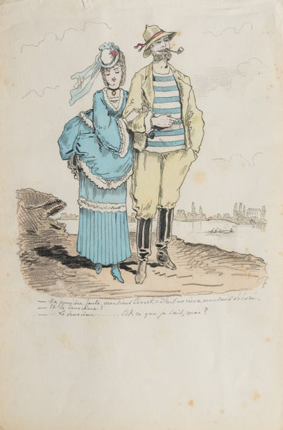DRANER (1833-1926)  LA FAUTE  Crayon et aquarelle,...
