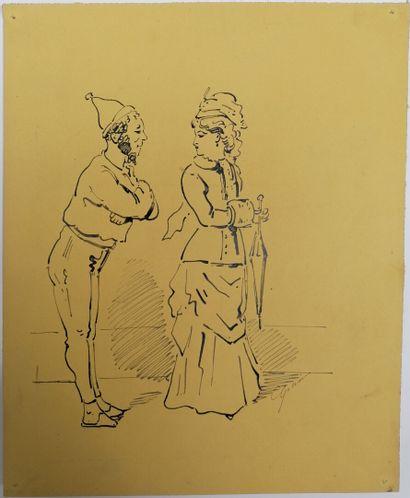 Alfred GRÉVIN (1827-1892)  COUPLE  Encre...