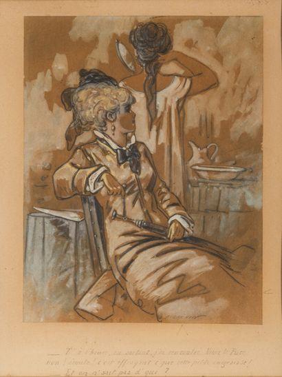 Alfred GRÉVIN (1827-1892)  COMMERAGES  Crayon...