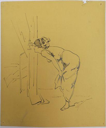 Alfred GRÉVIN (1827-1892)  FEMME A LA CHANDELLE...