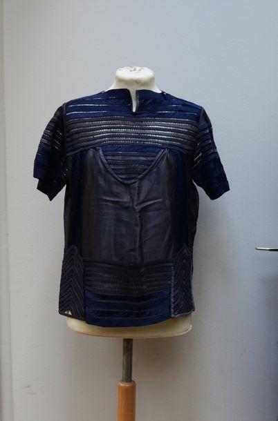 Haut en soie bleu marine et taupe, structuré...