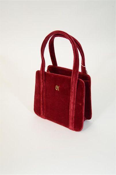 Petit sac en velours rouge framboise de la...