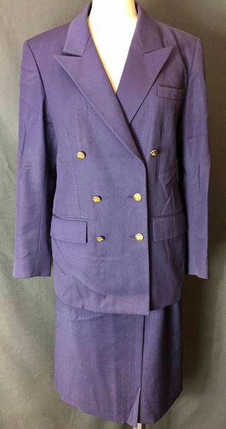 BURBERRYS  Tailleur jupe en lainage bleu...