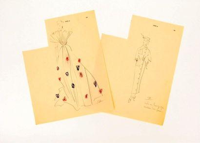 Attribué à Pierre CARDIN : 2 dessins de mode...