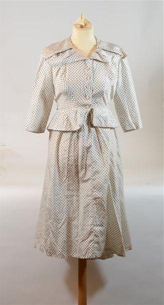 LUCILE MANGUIN: Robe en soie crème à petits...