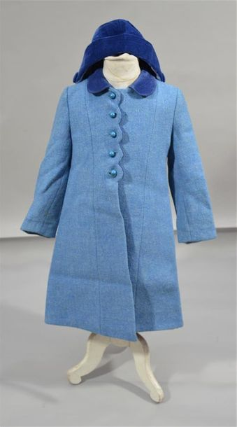 EMILY JANE: Manteau d'enfant en tweed bleu...