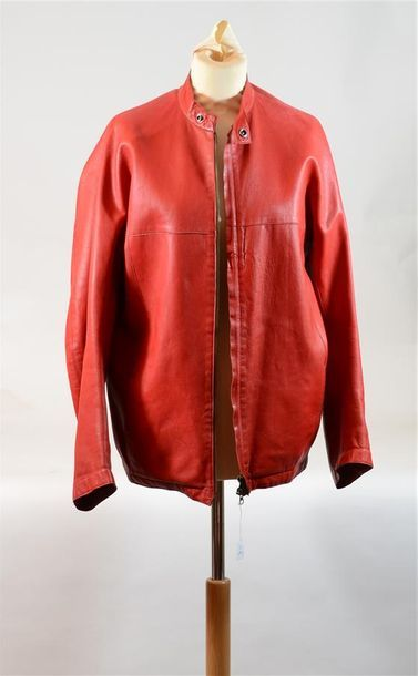 DKNY : Veste en cuir rouge