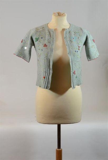 SAMY CHALON : Pull en laine d'enfant bleu...