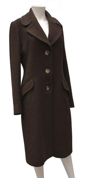 DOLCE & GABBANA : Long manteau marron en...