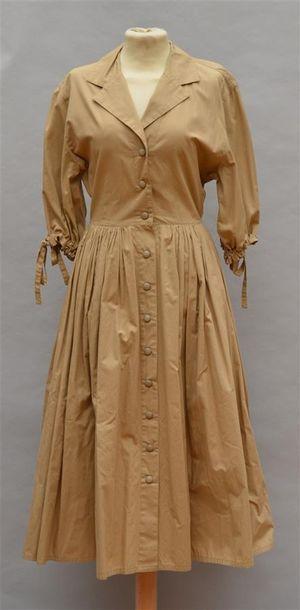 BERETTA MEDIANE : Robe longue en coton beige...