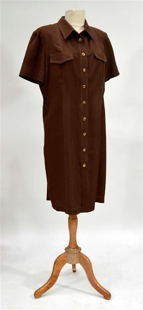 MISS TORRENTE : Robe droite marron à manches...