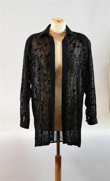 SARAH B. : Chemisier noir transparent à décor...
