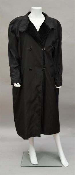 SPRUNG FRERE : Long manteau noir avec doublure...