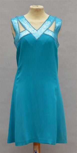 CHRISTIAN DIOR : Robe courte turquoise sans...