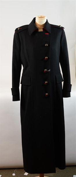 TAKADA KENZO : Long manteau noir, passepoil...
