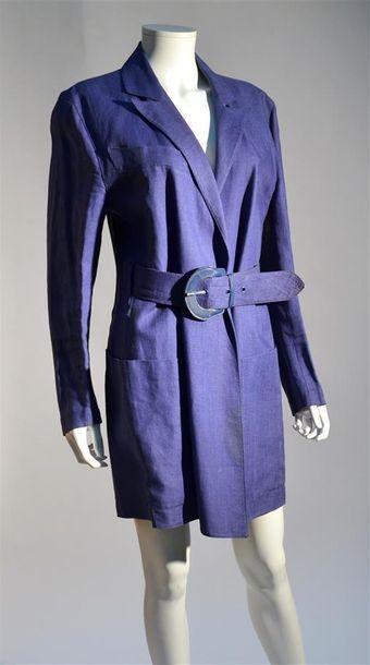 Claude MONTANA : Veste en lin bleu