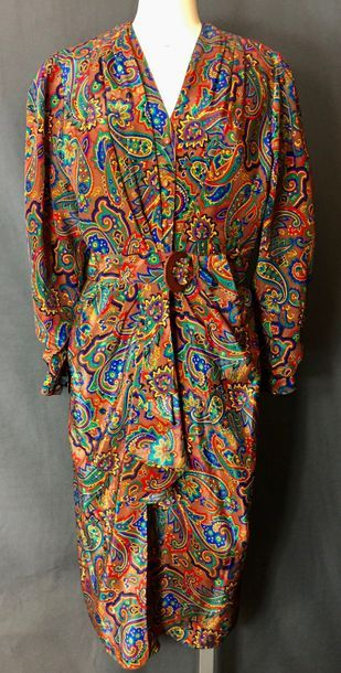 Robe portefeuille en polyester marron à décor...