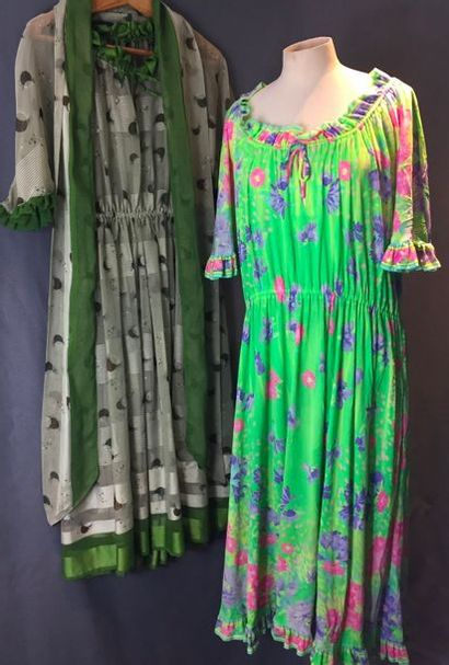 LEONARD, circa 1970  Robe en polyamide texturé...