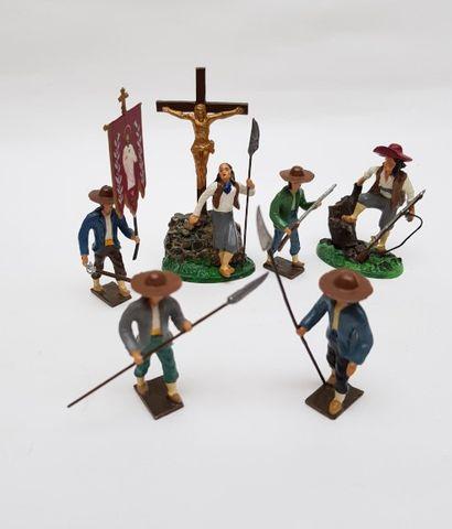 Cinq soldats vendéens dont un porte étendard...