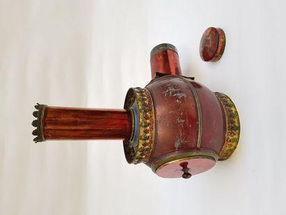 Lanterne magique polychrome BOULE Auguste LAPIERRE  H 31,5 cm X 28 cm (profondeur...