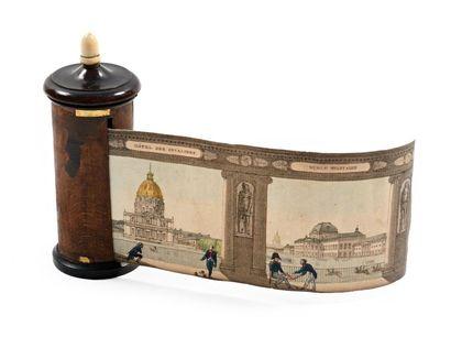 Panorama Promenade N°2 Monuments de Paris LANGLUME 1820  Boite cylindrique avec...