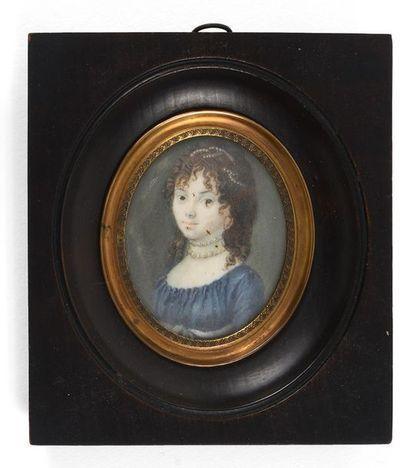 Ecole française fin XVIIIème début XIXème siècle  Portrait de jeune femme à la robe...