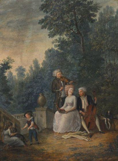 Ecole FRANCAISE vers 1790, entourage de Jean Baptiste MALLET  La collation au parc...